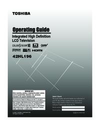 toshiba 42hl196 manual usermanual com rh usermanual com Toshiba 42HL196 Won't Turn On Toshiba 42HL196 Won't Turn On